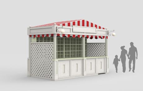 «Июнь» Мытищи. Стойка информации, лайтбоксы, островной магазин и ярмарка