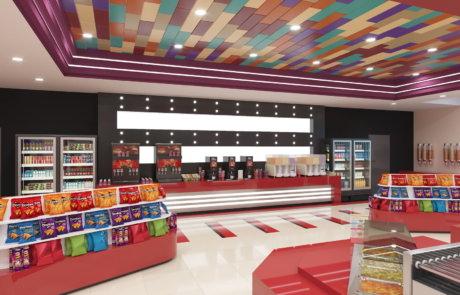 «Мори Синема» концепция интерьеров вестибюлей и холлов кинотеатров
